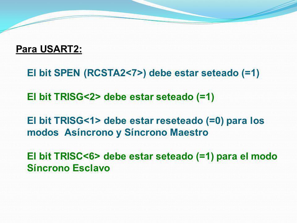 Para USART2: El bit SPEN (RCSTA2 ) debe estar seteado (=1) El bit TRISG debe estar seteado (=1) El bit TRISG debe estar reseteado (=0) para los modos