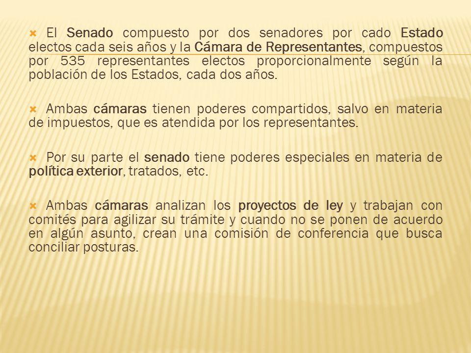 El Senado compuesto por dos senadores por cado Estado electos cada seis años y la Cámara de Representantes, compuestos por 535 representantes electos