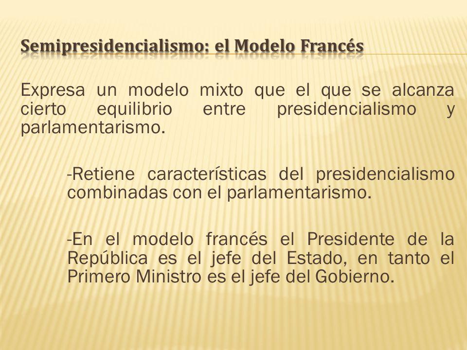 Expresa un modelo mixto que el que se alcanza cierto equilibrio entre presidencialismo y parlamentarismo. -Retiene características del presidencialism