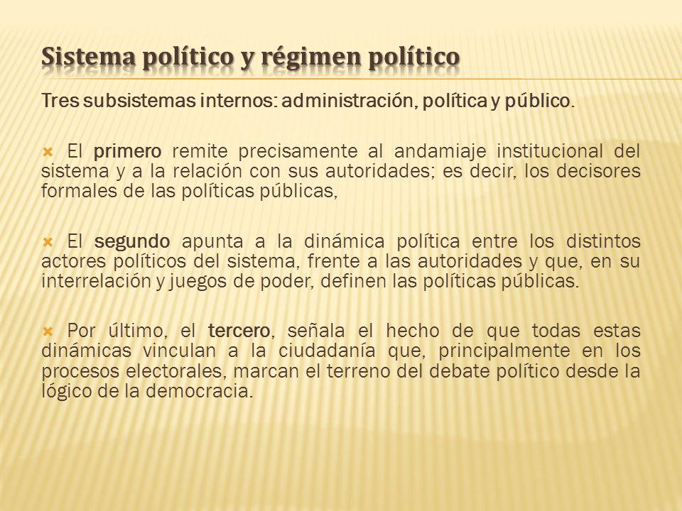 Tres subsistemas internos: administración, política y público. El primero remite precisamente al andamiaje institucional del sistema y a la relación c