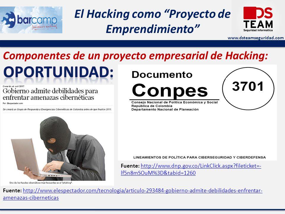www.dsteamseguridad.com El Hacking como Proyecto de Emprendimiento Fuente: http://www.elespectador.com/tecnologia/articulo-293484-gobierno-admite-debilidades-enfrentar- amenazas-ciberneticashttp://www.elespectador.com/tecnologia/articulo-293484-gobierno-admite-debilidades-enfrentar- amenazas-ciberneticas Componentes de un proyecto empresarial de Hacking: Fuente: http://www.dnp.gov.co/LinkClick.aspx fileticket=- lf5n8mSOuM%3D&tabid=1260http://www.dnp.gov.co/LinkClick.aspx fileticket=- lf5n8mSOuM%3D&tabid=1260