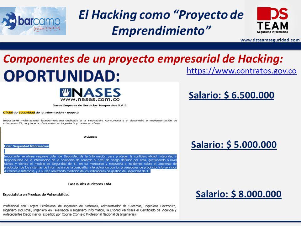 www.dsteamseguridad.com El Hacking como Proyecto de Emprendimiento Componentes de un proyecto empresarial de Hacking: Salario: $ 6.500.000 Salario: $