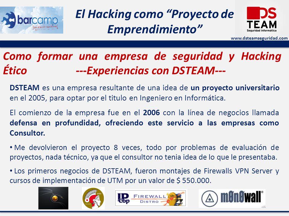 www.dsteamseguridad.com El Hacking como Proyecto de Emprendimiento Como formar una empresa de seguridad y Hacking Ético ---Experiencias con DSTEAM---