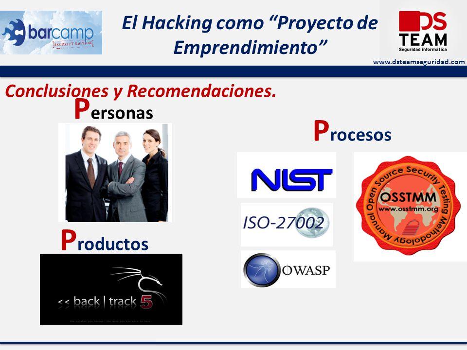 www.dsteamseguridad.com El Hacking como Proyecto de Emprendimiento Conclusiones y Recomendaciones. P rocesos P ersonas P roductos