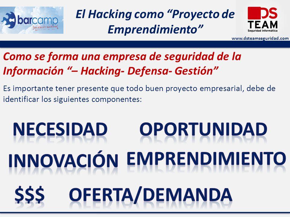www.dsteamseguridad.com El Hacking como Proyecto de Emprendimiento Como se forma una empresa de seguridad de la Información – Hacking- Defensa- Gestión Es importante tener presente que todo buen proyecto empresarial, debe de identificar los siguientes componentes: