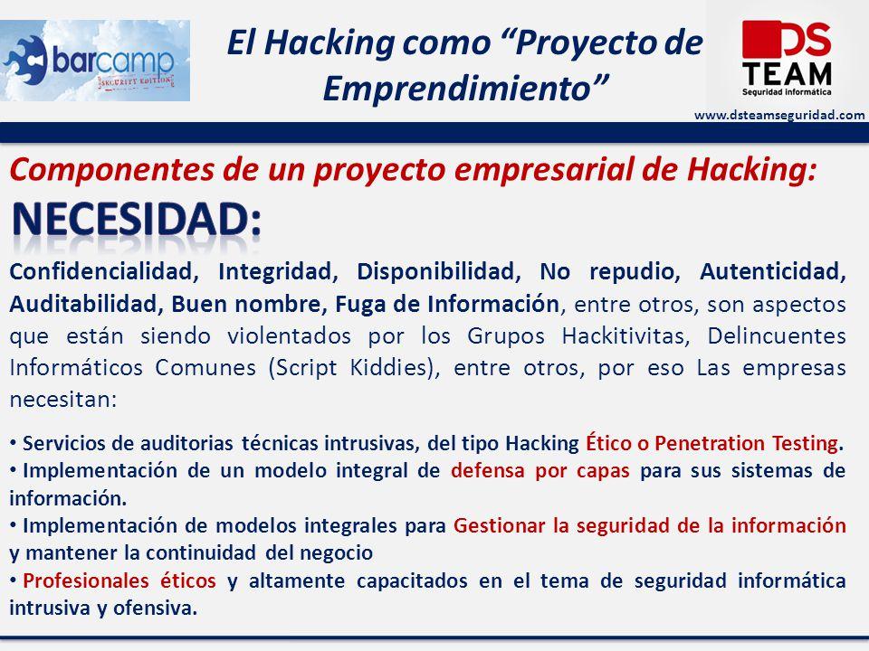 www.dsteamseguridad.com El Hacking como Proyecto de Emprendimiento Componentes de un proyecto empresarial de Hacking: Confidencialidad, Integridad, Disponibilidad, No repudio, Autenticidad, Auditabilidad, Buen nombre, Fuga de Información, entre otros, son aspectos que están siendo violentados por los Grupos Hackitivitas, Delincuentes Informáticos Comunes (Script Kiddies), entre otros, por eso Las empresas necesitan: Servicios de auditorias técnicas intrusivas, del tipo Hacking Ético o Penetration Testing.