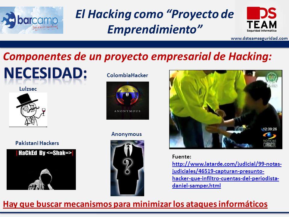 www.dsteamseguridad.com El Hacking como Proyecto de Emprendimiento Componentes de un proyecto empresarial de Hacking: Fuente: http://www.latarde.com/judicial/99-notas- judiciales/46519-capturan-presunto- hacker-que-infiltro-cuentas-del-periodista- daniel-samper.html http://www.latarde.com/judicial/99-notas- judiciales/46519-capturan-presunto- hacker-que-infiltro-cuentas-del-periodista- daniel-samper.html Hay que buscar mecanismos para minimizar los ataques informáticos Anonymous Lulzsec ColombiaHacker s Pakistani Hackers