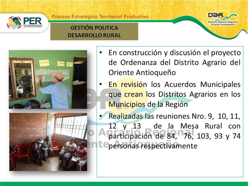 En construcción y discusión el proyecto de Ordenanza del Distrito Agrario del Oriente Antioqueño En revisión los Acuerdos Municipales que crean los Di