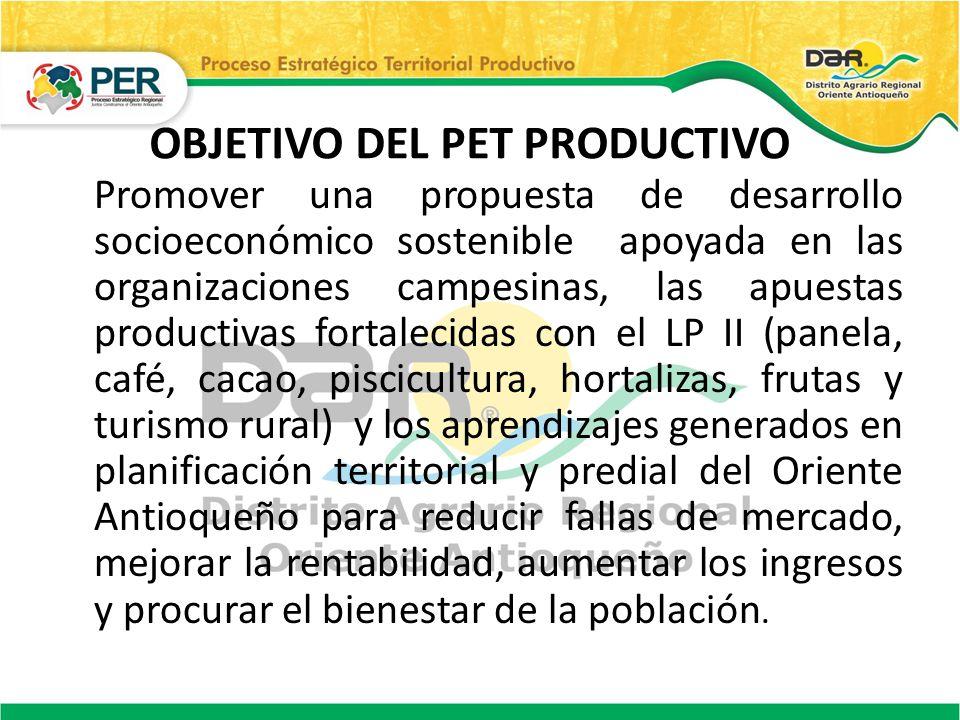 OBJETIVO DEL PET PRODUCTIVO Promover una propuesta de desarrollo socioeconómico sostenible apoyada en las organizaciones campesinas, las apuestas prod