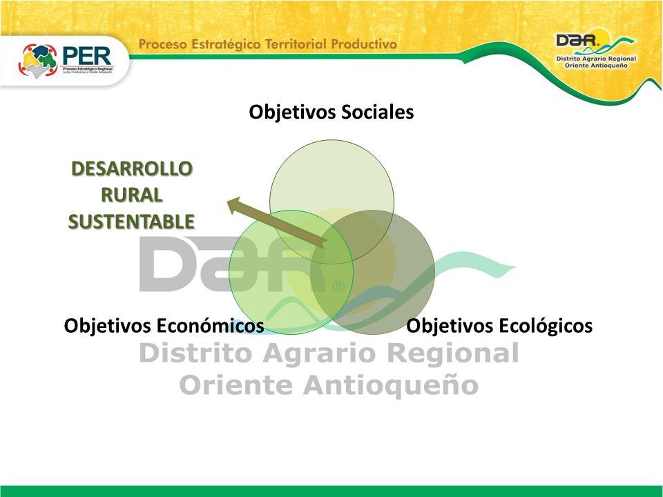Objetivos Sociales Objetivos EcológicosObjetivos Económicos DESARROLLO RURAL SUSTENTABLE