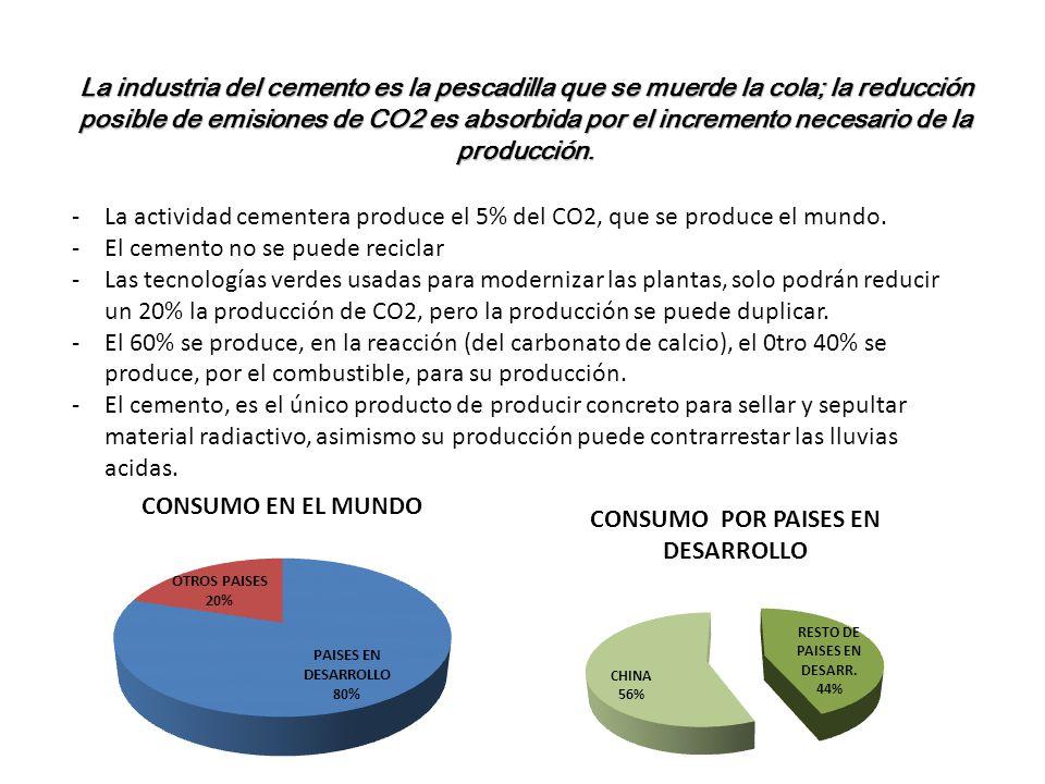 -La actividad cementera produce el 5% del CO2, que se produce el mundo. -El cemento no se puede reciclar -Las tecnologías verdes usadas para moderniza