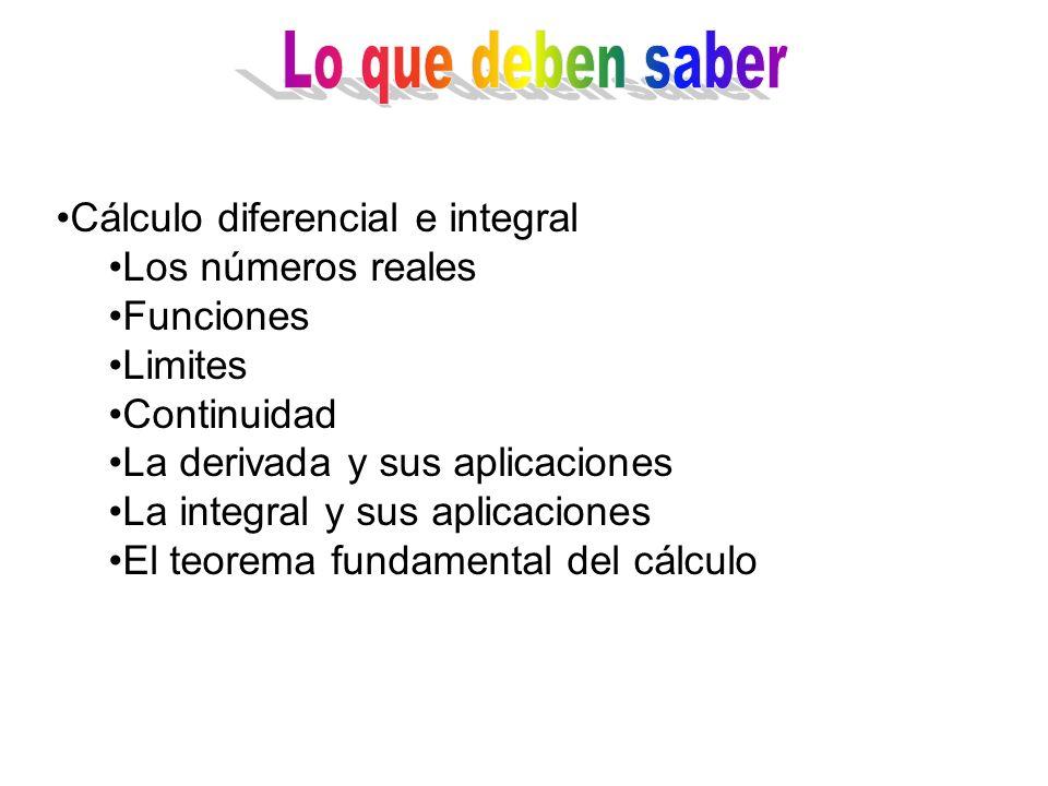 Los números reales Funciones Limites Continuidad La derivada y sus aplicaciones La integral y sus aplicaciones El teorema fundamental del cálculo