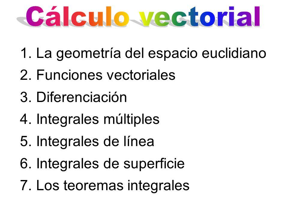 1.La geometría del espacio euclidiano 2.Funciones vectoriales 3.Diferenciación 4.Integrales múltiples 5.Integrales de línea 6.Integrales de superficie 7.Los teoremas integrales