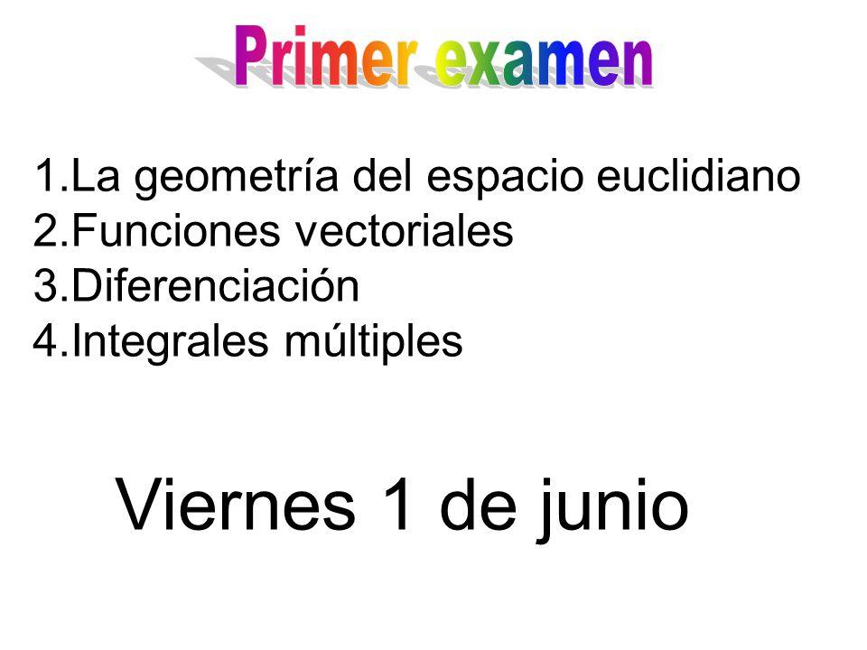 1.La geometría del espacio euclidiano 2.Funciones vectoriales 3.Diferenciación 4.Integrales múltiples Viernes 1 de junio