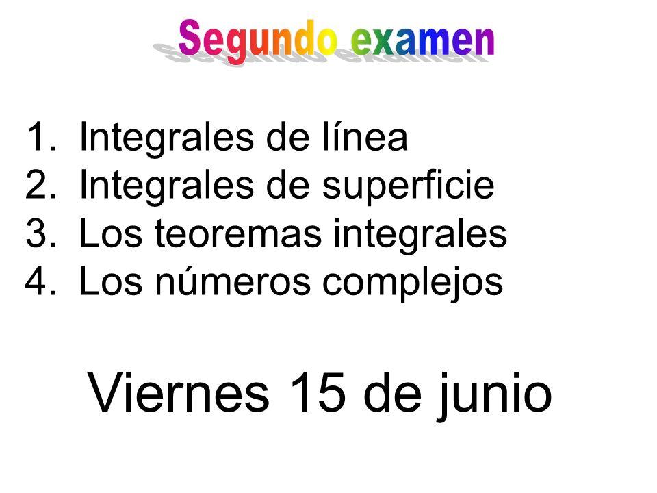 1.Integrales de línea 2.Integrales de superficie 3.Los teoremas integrales 4.Los números complejos Viernes 15 de junio