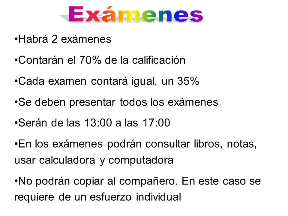 Habrá 2 exámenes Contarán el 70% de la calificación Cada examen contará igual, un 35% Se deben presentar todos los exámenes Serán de las 13:00 a las 1