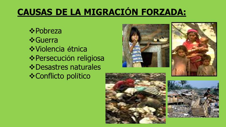 CAUSAS DE LA MIGRACI Ó N FORZADA: Pobreza Guerra Violencia é tnica Persecuci ó n religiosa Desastres naturales Conflicto pol í tico