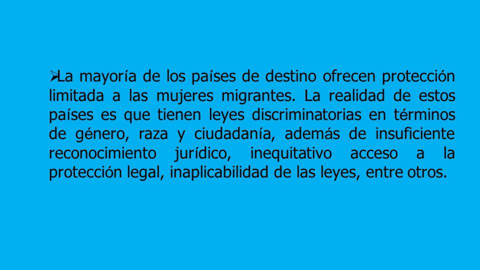 La mayor í a de los pa í ses de destino ofrecen protecci ó n limitada a las mujeres migrantes.