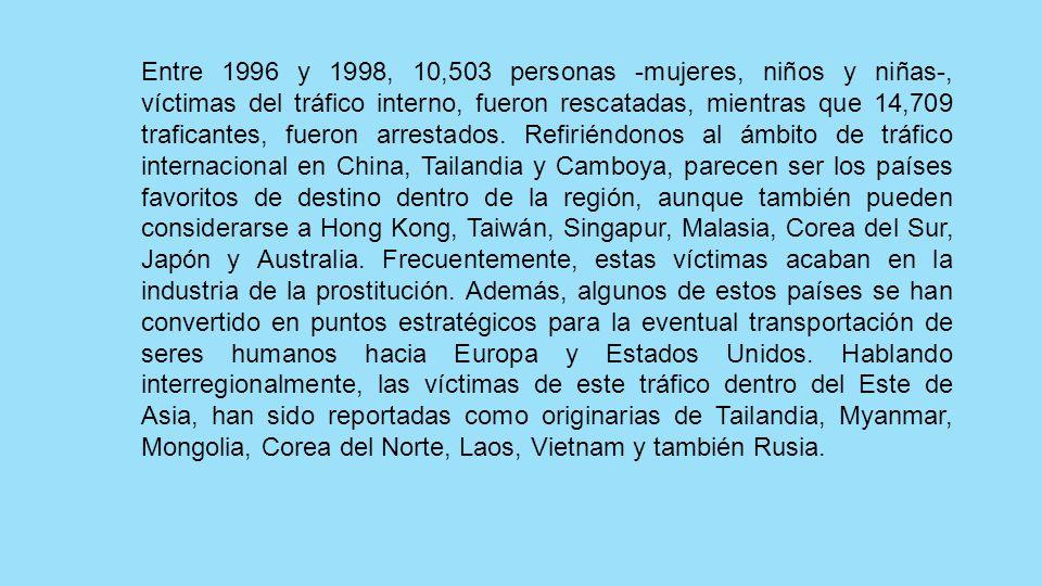 Entre 1996 y 1998, 10,503 personas -mujeres, niños y niñas-, víctimas del tráfico interno, fueron rescatadas, mientras que 14,709 traficantes, fueron arrestados.