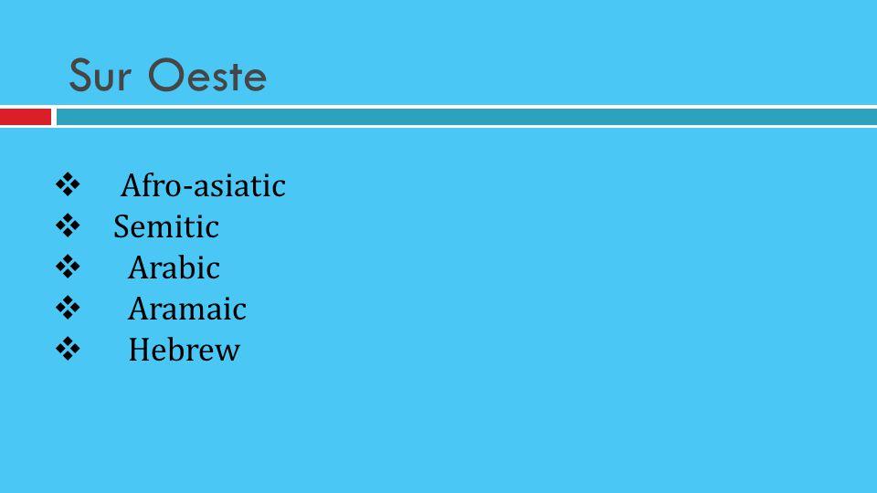 Sur Oeste Afro-asiatic Semitic Arabic Aramaic Hebrew