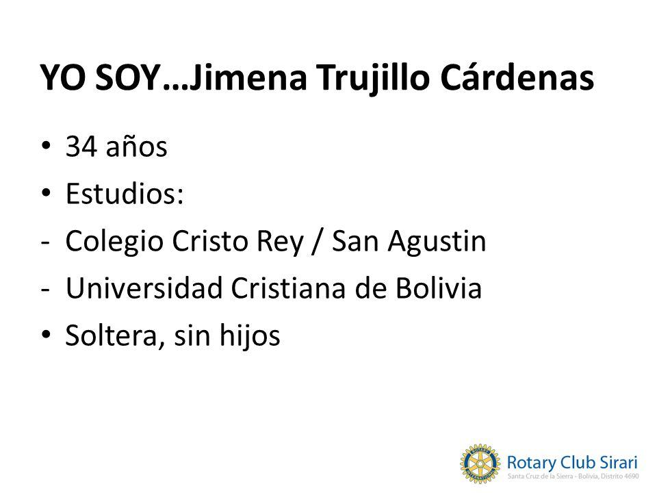 YO SOY…Jimena Trujillo Cárdenas 34 años Estudios: -Colegio Cristo Rey / San Agustin -Universidad Cristiana de Bolivia Soltera, sin hijos
