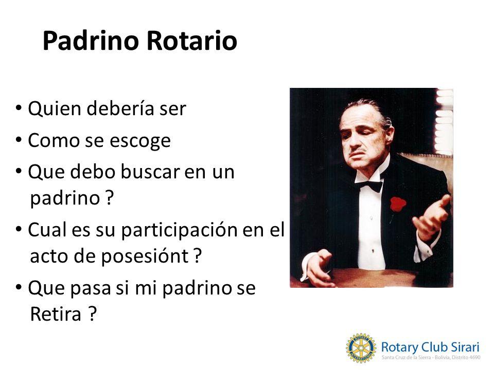 Padrino Rotario Quien debería ser Como se escoge Que debo buscar en un padrino ? Cual es su participación en el acto de posesiónt ? Que pasa si mi pad