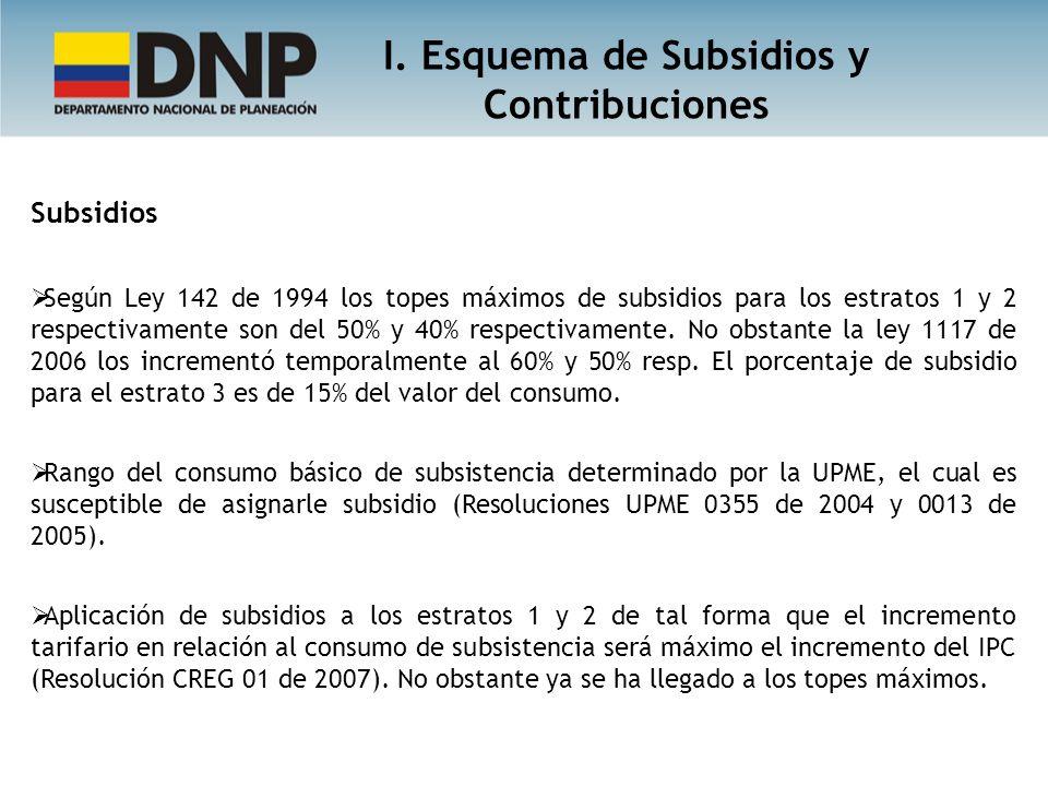 Subsidios Según Ley 142 de 1994 los topes máximos de subsidios para los estratos 1 y 2 respectivamente son del 50% y 40% respectivamente.
