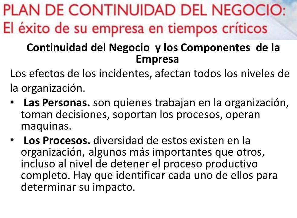 Continuidad del Negocio y los Componentes de la Empresa Los efectos de los incidentes, afectan todos los niveles de la organización. Las Personas. son