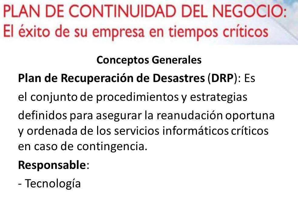 Conceptos Generales Plan de Recuperación de Desastres (DRP): Es el conjunto de procedimientos y estrategias definidos para asegurar la reanudación opo