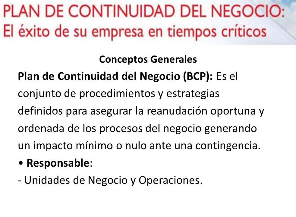 Conceptos Generales Plan de Continuidad del Negocio (BCP): Es el conjunto de procedimientos y estrategias definidos para asegurar la reanudación oport