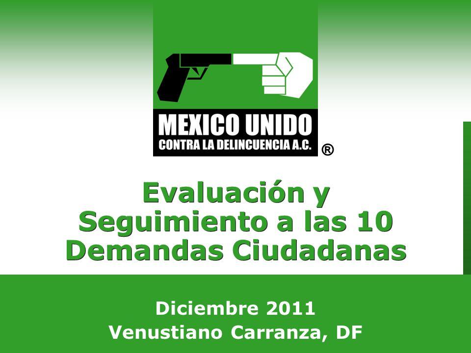 Agosto 2008 Guadalajara, Jalisco Evaluación y Seguimiento a las 10 Demandas Ciudadanas Diciembre 2011 Venustiano Carranza, DF
