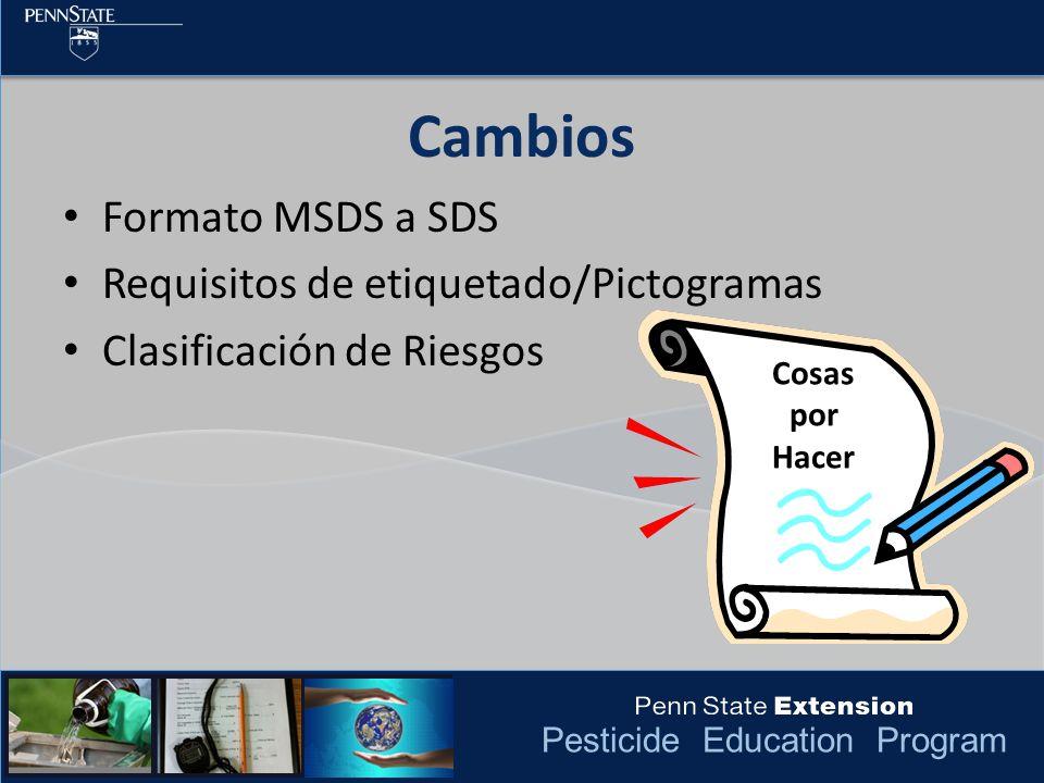 Pesticide Education Program Formato MSDS a SDS Requisitos de etiquetado/Pictogramas Clasificación de Riesgos Cambios Cosas por Hacer