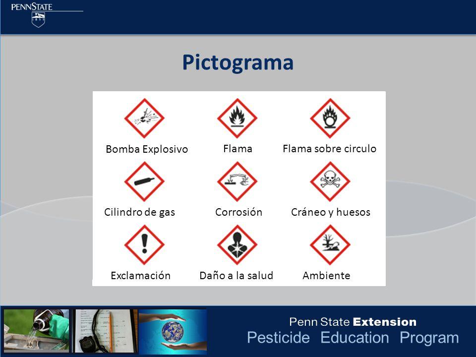 Pesticide Education Program Pictograma Bomba Explosivo FlamaFlama sobre circulo Cilindro de gasCorrosiónCráneo y huesos ExclamaciónDaño a la saludAmbi