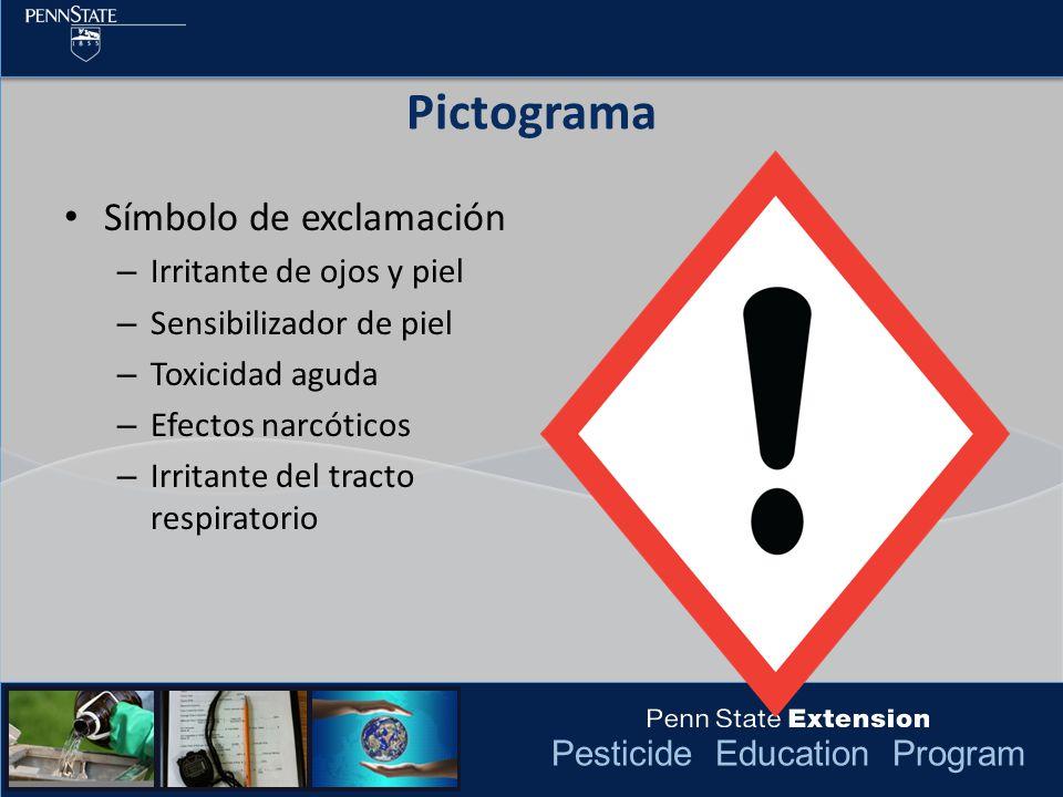 Pesticide Education Program Pictograma Símbolo de exclamación – Irritante de ojos y piel – Sensibilizador de piel – Toxicidad aguda – Efectos narcótic