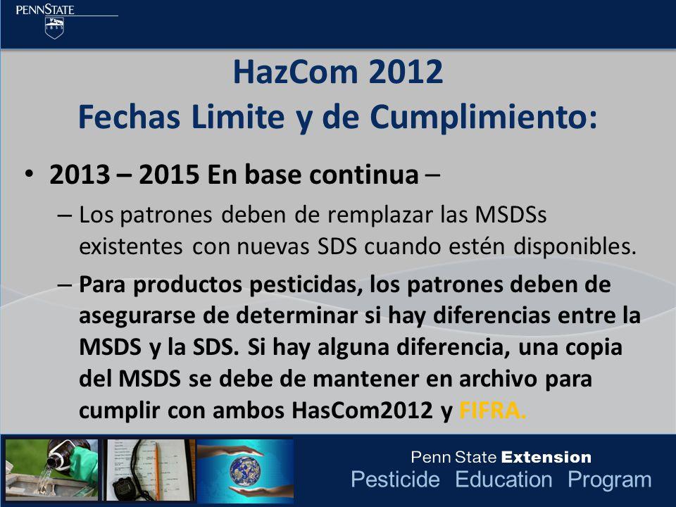 Pesticide Education Program HazCom 2012 Fechas Limite y de Cumplimiento: 2013 – 2015 En base continua – – Los patrones deben de remplazar las MSDSs ex