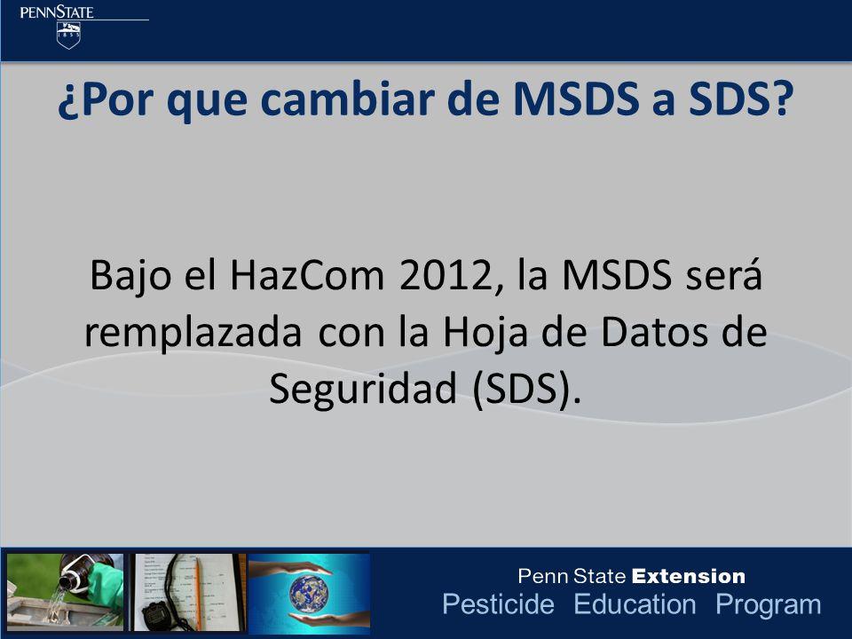 Pesticide Education Program ¿Por que cambiar de MSDS a SDS.