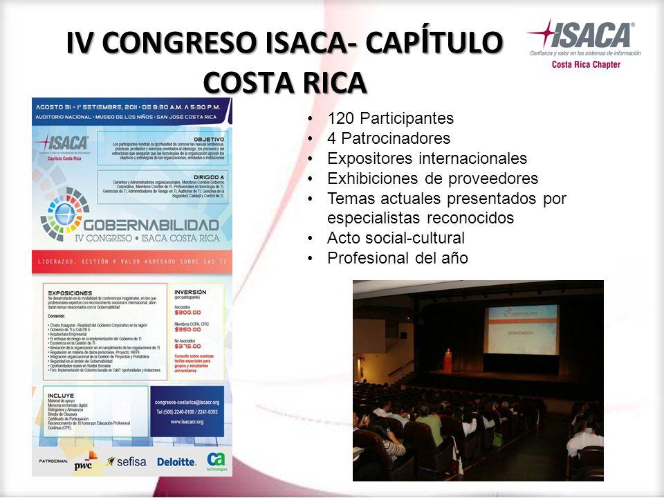 120 Participantes 4 Patrocinadores Expositores internacionales Exhibiciones de proveedores Temas actuales presentados por especialistas reconocidos Acto social-cultural Profesional del año IV CONGRESO ISACA- CAP Í TULO COSTA RICA