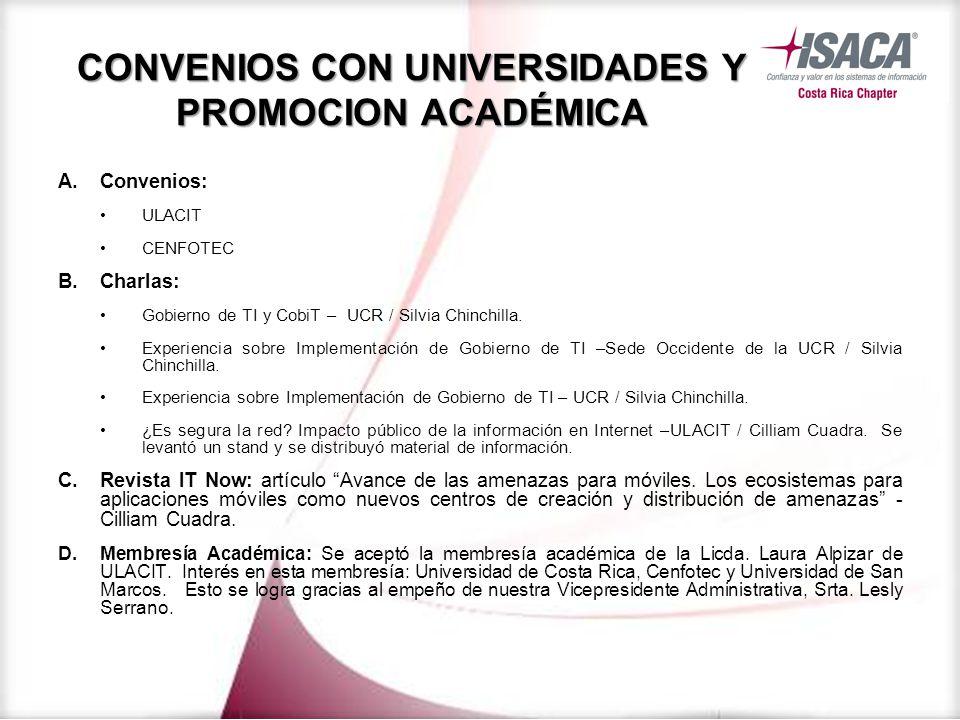 CONVENIOS CON UNIVERSIDADES Y PROMOCION ACADÉMICA A.Convenios: ULACIT CENFOTEC B.Charlas: Gobierno de TI y CobiT – UCR / Silvia Chinchilla.