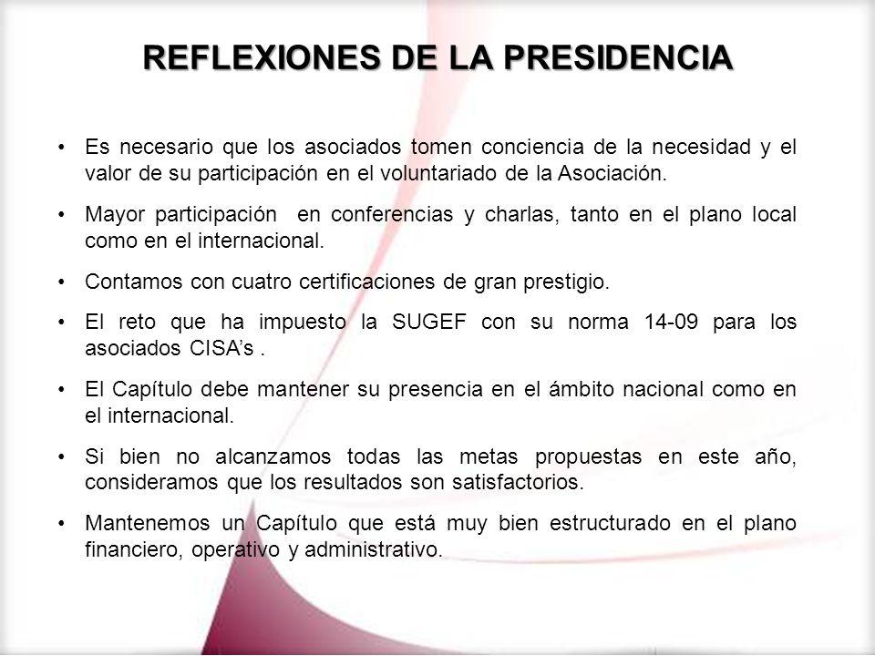 REFLEXIONES DE LA PRESIDENCIA Es necesario que los asociados tomen conciencia de la necesidad y el valor de su participación en el voluntariado de la
