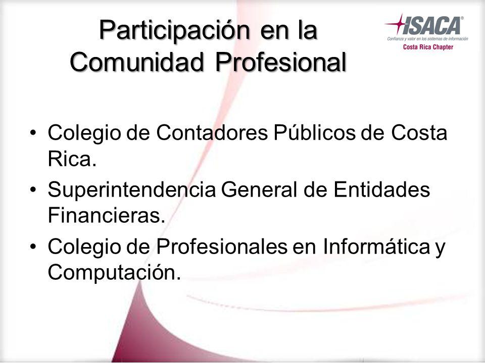 Participación en la Comunidad Profesional Colegio de Contadores Públicos de Costa Rica. Superintendencia General de Entidades Financieras. Colegio de
