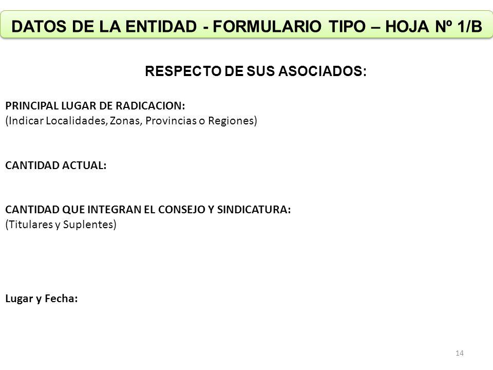 DATOS DE LA ENTIDAD - FORMULARIO TIPO – HOJA Nº 1/B RESPECTO DE SUS ASOCIADOS: PRINCIPAL LUGAR DE RADICACION: (Indicar Localidades, Zonas, Provincias