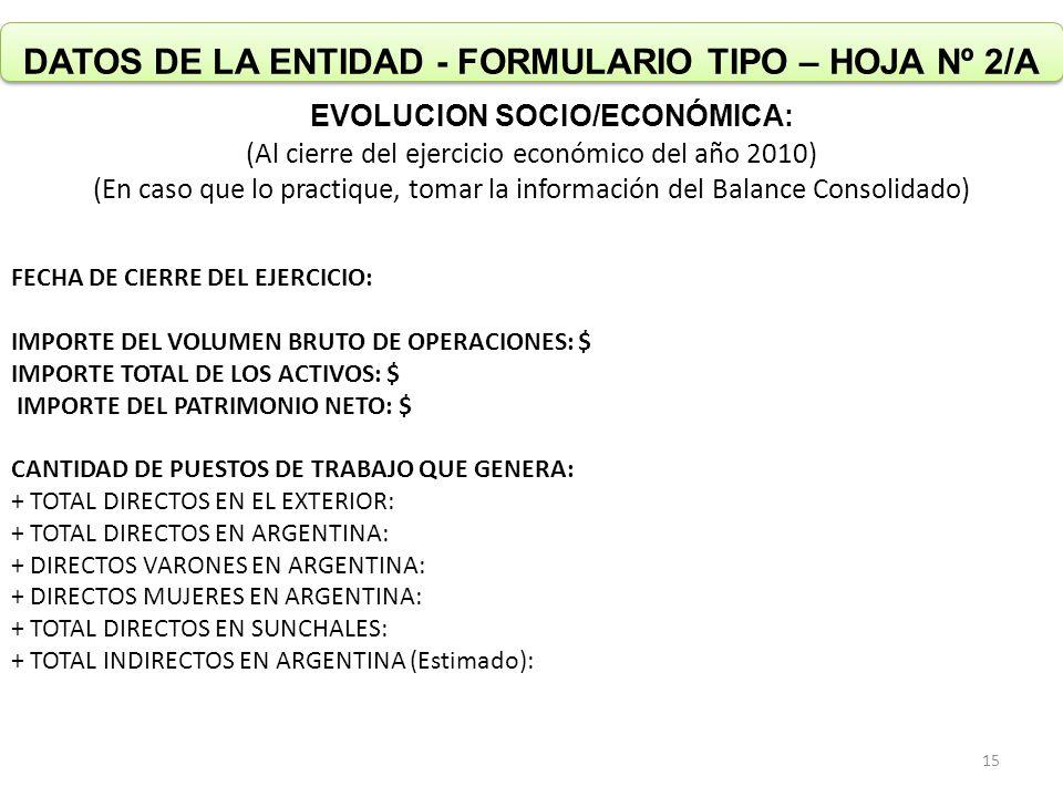 DATOS DE LA ENTIDAD - FORMULARIO TIPO – HOJA Nº 2/A EVOLUCION SOCIO/ECONÓMICA: (Al cierre del ejercicio económico del año 2010) (En caso que lo practique, tomar la información del Balance Consolidado) FECHA DE CIERRE DEL EJERCICIO: IMPORTE DEL VOLUMEN BRUTO DE OPERACIONES: $ IMPORTE TOTAL DE LOS ACTIVOS: $ IMPORTE DEL PATRIMONIO NETO: $ CANTIDAD DE PUESTOS DE TRABAJO QUE GENERA: + TOTAL DIRECTOS EN EL EXTERIOR: + TOTAL DIRECTOS EN ARGENTINA: + DIRECTOS VARONES EN ARGENTINA: + DIRECTOS MUJERES EN ARGENTINA: + TOTAL DIRECTOS EN SUNCHALES: + TOTAL INDIRECTOS EN ARGENTINA (Estimado): 15