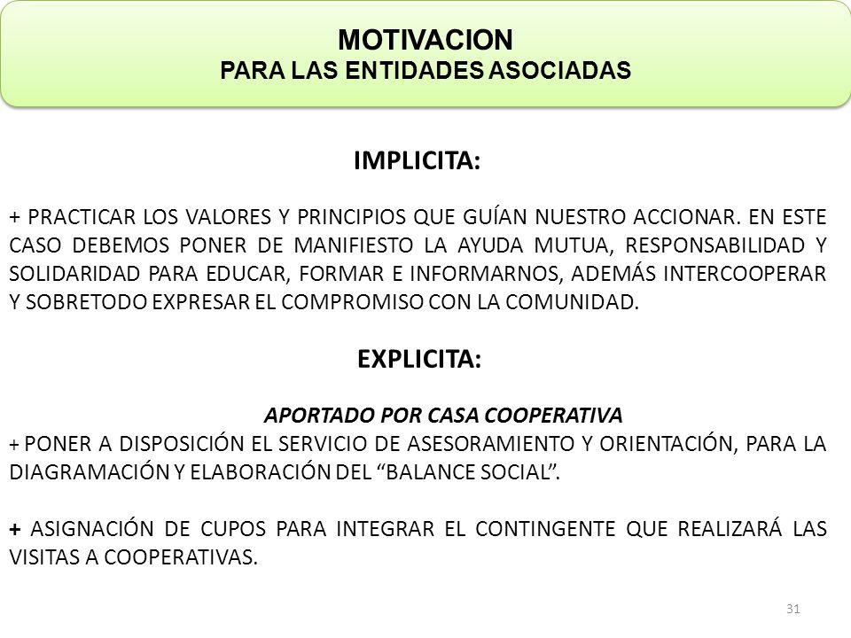 IMPLICITA: + PRACTICAR LOS VALORES Y PRINCIPIOS QUE GUÍAN NUESTRO ACCIONAR.