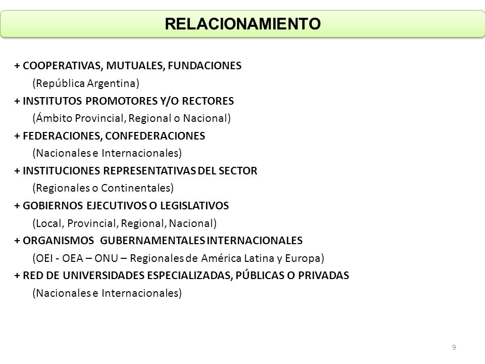 RELACIONAMIENTO + COOPERATIVAS, MUTUALES, FUNDACIONES (República Argentina) + INSTITUTOS PROMOTORES Y/O RECTORES (Ámbito Provincial, Regional o Nacional) + FEDERACIONES, CONFEDERACIONES (Nacionales e Internacionales) + INSTITUCIONES REPRESENTATIVAS DEL SECTOR (Regionales o Continentales) + GOBIERNOS EJECUTIVOS O LEGISLATIVOS (Local, Provincial, Regional, Nacional) + ORGANISMOS GUBERNAMENTALES INTERNACIONALES (OEI - OEA – ONU – Regionales de América Latina y Europa) + RED DE UNIVERSIDADES ESPECIALIZADAS, PÚBLICAS O PRIVADAS (Nacionales e Internacionales) 9