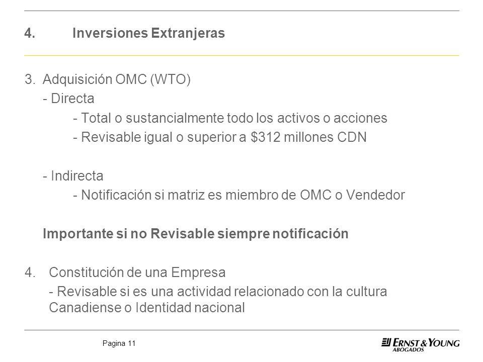 Pagina 11 4.Inversiones Extranjeras 3.Adquisición OMC (WTO) - Directa - Total o sustancialmente todo los activos o acciones - Revisable igual o superi