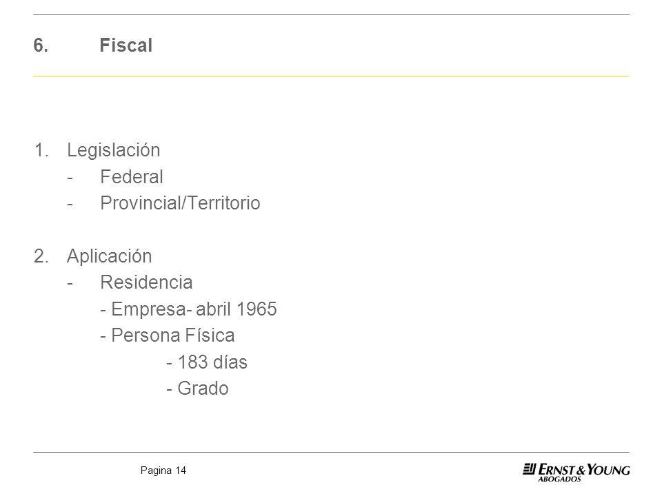 Pagina 14 6.Fiscal 1.Legislación -Federal -Provincial/Territorio 2.Aplicación -Residencia - Empresa- abril 1965 - Persona Física - 183 días - Grado