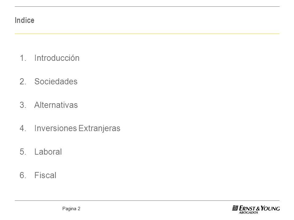 Pagina 2 Indice 1.Introducción 2.Sociedades 3.Alternativas 4.Inversiones Extranjeras 5.Laboral 6.Fiscal