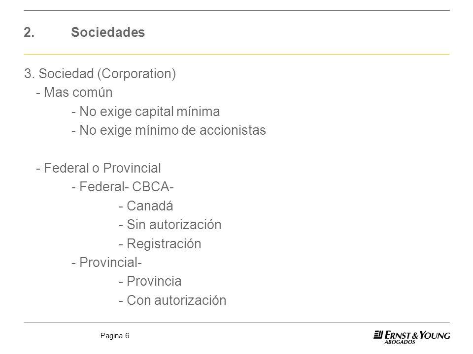Pagina 6 2.Sociedades 3. Sociedad (Corporation) - Mas común - No exige capital mínima - No exige mínimo de accionistas - Federal o Provincial - Federa