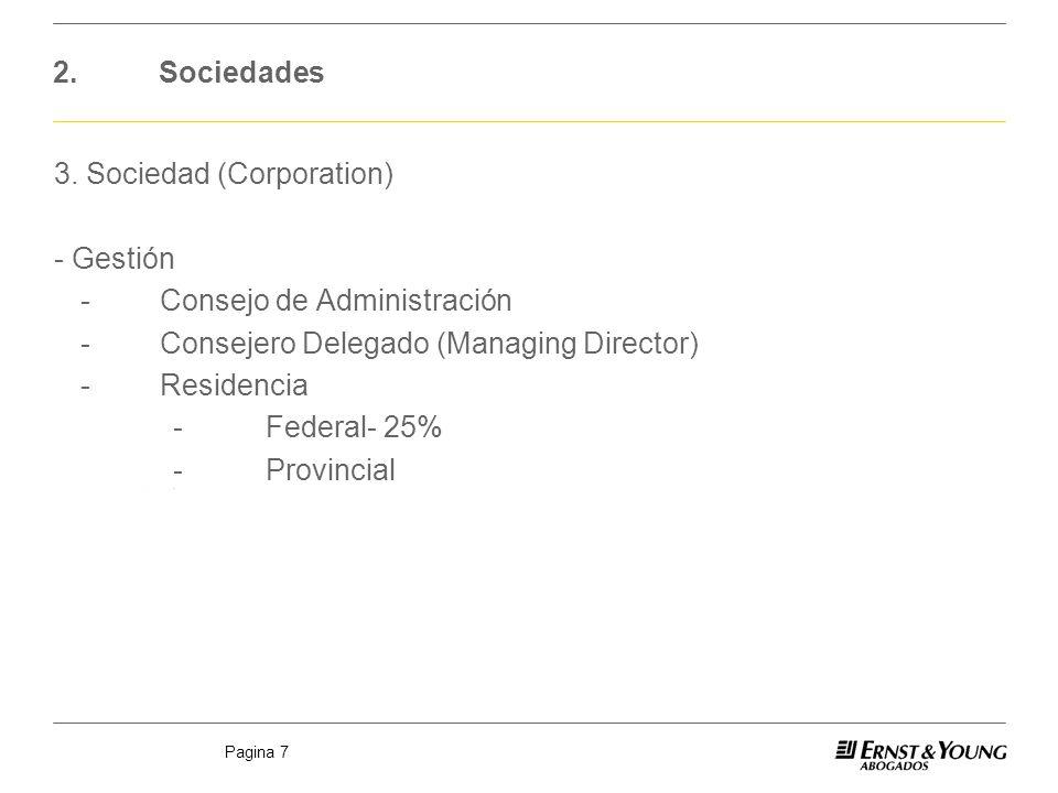 Pagina 7 2.Sociedades 3. Sociedad (Corporation) - Gestión -Consejo de Administración -Consejero Delegado (Managing Director) -Residencia -Federal- 25%