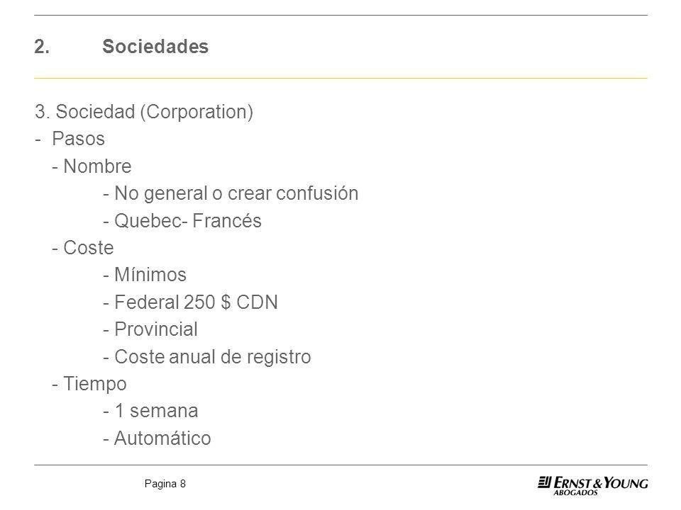 Pagina 8 2.Sociedades 3. Sociedad (Corporation) -Pasos - Nombre - No general o crear confusión - Quebec- Francés - Coste - Mínimos - Federal 250 $ CDN